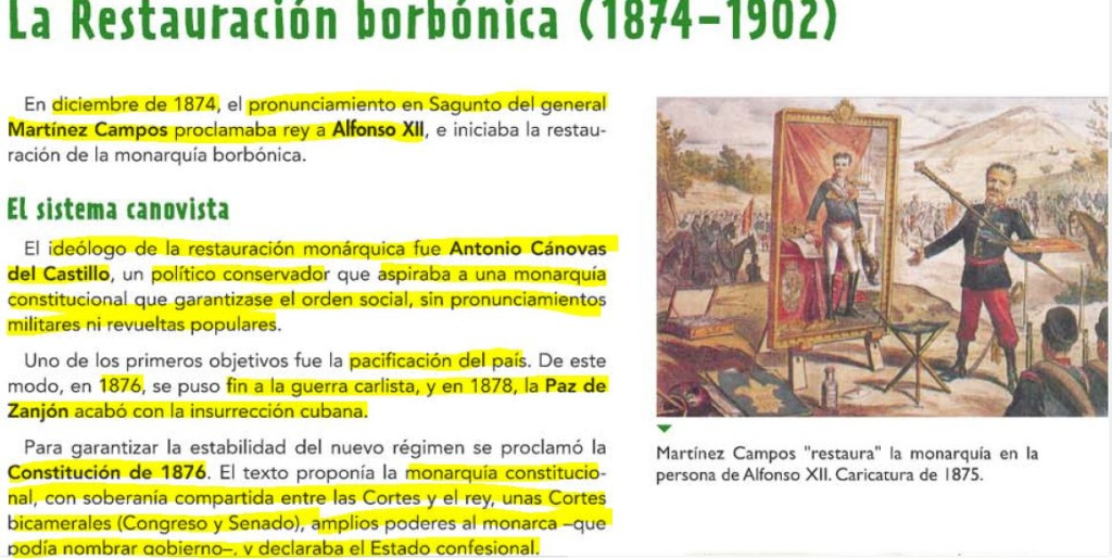 LA RESTAURACIÓN BORBÓNICA (1874-1902)