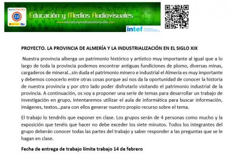 PROYECTO LA PROVINCIA DE ALMERÍA Y LA INDUSTRIALIZACIÓN EN EL SIGLO XIX